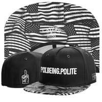 Cayler & Sons Snapback Hats fuck being polite black with flag  brand new Men Hip Hop Baseball Caps good quality !