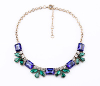 2014 new European style fashion women jewelry wholesale retro blue crystal necklace 6 pcs/lot