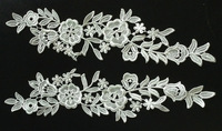 Free shipping 32cm*8.5cm polyester mirrored embroidery flower applique, embroidery lace patches,veil applique,XERY0719G