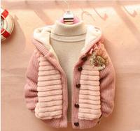 Free shipping 2014 children warm winter thick clothings Girls Faux Fur Warm Coats & Jackets outwear Retail