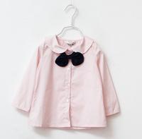 2014 New,girls autumn blouses,children cotton shirts,long sleeve,bow,pink/white,6 pcs / lot, wholesale,1555