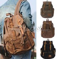 AUGUR!!NEW Men Women Vintage Canvas Leather Backpack Rucksack Satchel Travel Hiking Bag