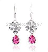 10pairs ITALINA Regent  Purple crystal drop earrings good gift for girlfriend sweetheart Wedding anniversary sisters Christmas
