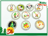 Newest  !! 10pcs/lot 40MM Mixed Christmas  Rhinestone Pendants For Chunky Kids Necklace Making!