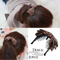 Hair Accessory Leopard Print Fabric Bow Gripper Hair Caught Girl Hair Claws  SF441