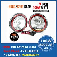 Free Shipping 2PCS 9'' 100W HID Driving light offroad, ATV truck,hid work light spot beam flood beam slim ballast HID Offroad