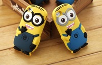 Fashional  3D cute cartoon model silicon material Despicable Me Yellow Minion Cover Case  for iphone Case for iphone 4 4S