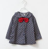 2014 New autumn,girls floral blouses,children cotton shirts,long sleeve,bow,2 colors,6 pcs / lot,wholesale,1557