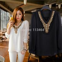 fashion women zara2014 New Fashion Copper Sheet Long Sleeve Chiffon Shirt Blouse Tops Women's Girl Plus Size S-XXL