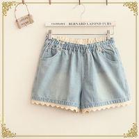 Free Shipping,Retail 2014 New Japaneses Mori Girl Summer Women's Brief Lace Edge Elastic Waist Denim Shorts,Female Casual Jeans