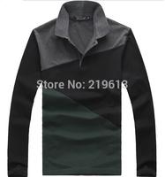 2014 Autumn New Men Long Sleeve Cotton T-Shirt Fashion Color Block Patchwork TShirt 3XL 4XL 5XL 6XL Tees Large Clothing For Man
