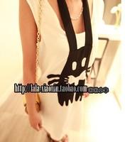 New 2014 Women Summer Dress Korean Hot Sales Women Funny Rabbit Bandage Halter Sleeveless Black White Tank  Dress Free Shipping