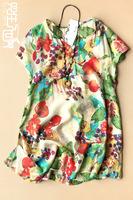 Plus size clothing 2014 one-piece dress female print elegant fluid loose a-line dress 100% cotton