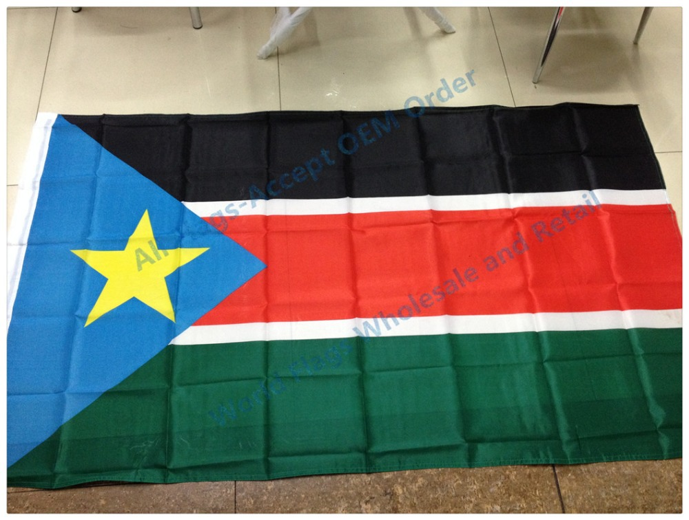 90*150cm Hanging big South Sudan National flag 3*5 ft for Festiva Decoration flag banner support wholesale&retail(China (Mainland))