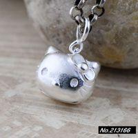925 Pure Silver  Thai silver. Cute kitten head. Female models pendant xh044657w