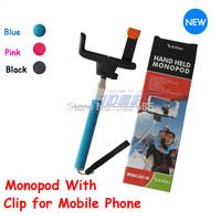 DHL 30sets (30pcs monopod +30pcs clip holder)Selfie Rotary Extendable Handheld Camera Tripod Mobile phone Monopod