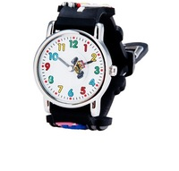 Racing Car Print Cartoon Children's Analog Brand Dress Watch (Black)