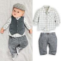 5set/lot whoelsale vintage long sleeve boy kid plaid shirt vest pant 3pcs set ,boy's clothing ,spring autumn child clothes