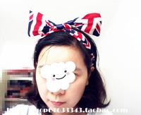 Free Shipping Festive Flag Styling Wire Bow Turban Headband Headpiece Hair Piece Red Black