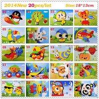 F108 New 20 Designs 3D EVA Puzzle Sticker DIY Toys Handmade Self-adhesive Foam Paste Painting Craft Gift 18x13cm Free Shipping