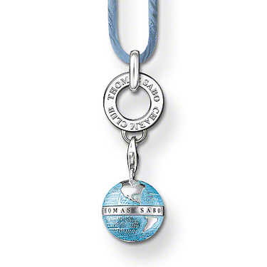 Blue-enamelled Globe Charm pendant Carrier with engraved lettering blue Silk ribbon 925 Silver plated Thomas style necklace Set(China (Mainland))