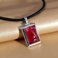 925 silver and Thai silver ornament Retro red corundum jewels Sweater locket pendant