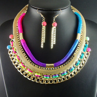 Handmade Neon yellow Pink White New Unique Big Bib Chunky Choker Ethnic Chain Jewelry Sets Statement Necklaces For Women