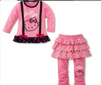 80-120cm Retail Hello Kitty Baby Girls Winter Warm Clothing Sets Lace Bow T-shirt and Tutu Skirt Legging pants