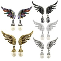 2014 New Fashion Women Earrings Charm Elegant Angel wings Imitation Pearl Crystal Earrings Romantic Personality Women Earrings