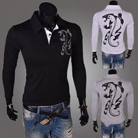 2014Free shipping male print turn - down collar long - sleeveT T-shirt