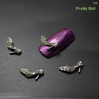 100PCS/LOT Alloy With Rhinestone Crystal Shoe Design Nail Art Decoration Free Shipping YY014