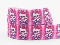 2014 New 50yd Skulls ribbon,7/8 inch Printed Grosgrain ribbon,Hair bow DIY headmade Pink ribbons,X1746 Free shipping