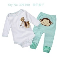 New 2014 Spring Baby Rompers Set Baby Boy Girl Clothing Set 2pcs Romper+Pant Children Animal Clothes Suit Spring Wear