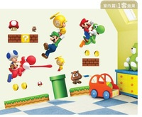 Free Shipping Large Size 150cm*75cm Super Mario Removable Wall Mural Carton Wall Stickers for Kids Room