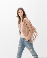 Fall 2014 new European style women fringed jacket,long sleeve irregular cardigan with tassel female