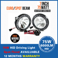 "2 PCS Free shipping hotsale 7"" hid offroad driving light ,75w hid off road light ,xenon work light /working lamp"