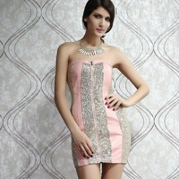 New the new Europe and the United States 2014 word brought strapless backless sequins sexy dress