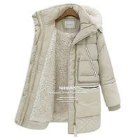 2014 Female Models In Long Down Jacket Large Size Winter Jackets Thick High simulation Lamb's Wool Jacket Winter Jacket  WT4107