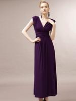 Hot Selling Double V Elegant High waist Long Formal  Evening Dress 2014 Fashion Backless Party Full Dress Women Long Dress