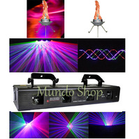 New DJ Pack 1pc 650mW RGBP 4 lens laser stage light Laser four tunnel 4 colors for DJ event Disco+2pcs Simulated LED Flame Light