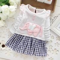 Free shipping! 2014 autumn Girls dress , Girls dot plaid long-sleeved dress stitching Cartoon Dress Baby girl dresses