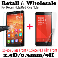 Free Shipping Tempered Glass Screen Protector For xiaomi hongmi red rice note With Retail Package 2.5D 9H 0.33mm