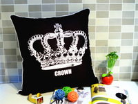 45*45 CM,Creative crown pillows European top-grade sofa cushion black and white nap pillows bed office lumbar