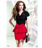 Sexy Women Club Mini Dress Cocktail Brief Lace Dress Black Red Big Butterfly Size M Vestidos Femininos Free Ship D49
