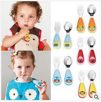 2pcs/set Portable Children Cartoon animal zoo Tableware Plastic Handle Stainless Steel School Tableware baby Fork Spoon Utensils