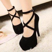 2014 new hot sale women pumps sexy high heels shoes woman free Shipping Black Red Blue EU 35-39