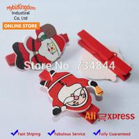 Free Shipping Set of 10 Natural Wood Wooden Santa Clause Christmas Craft Peg Set Mini Clothespins Card Holder Decoration