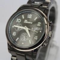 New arrival women fashion statement Geneva steel watch men watch men's quartz analog watch movement 4-color spot