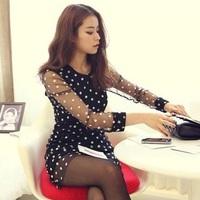 Hot Sale Good Quality 2014 Summer New Fashion Girl Cute Dot Dress Women Black Mesh Lace Ladies Party Dress Free Shipping