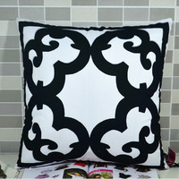45*45 cm,Exclusive paper-cut of window decoration square black and white creative cushion cover pillowcase house decor